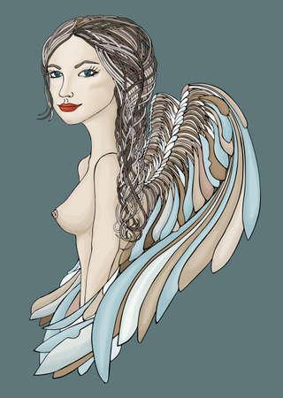 angel alone: Beautiful Angel with creative braid
