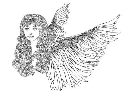 angel alone: Beautiful Angel with waving hair