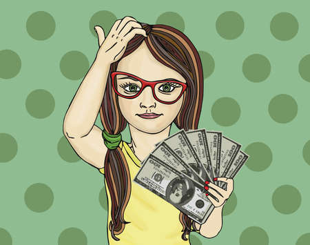 rich girl: Little girl holds money in hands. To reflect on the money. He counts money. Pop Art illustration. Child  is painted on colored background.