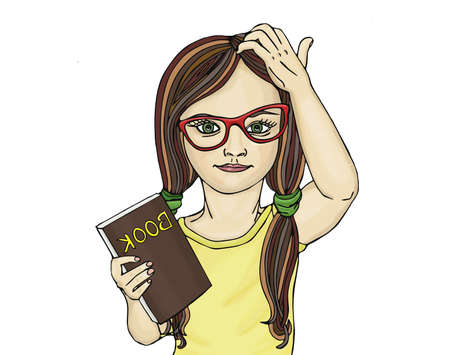girl glasses: Little girl in glasses wants to school. I thought on the book. Pop Art illustration.