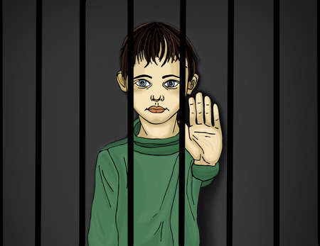 The child in prison. Children of criminals. Behind bars. Juvenile criminals. Angry and unhappy boy showing hand sign enough. Against violence. Stop the violence. Portrait on the dark background. Pop Art illustration.