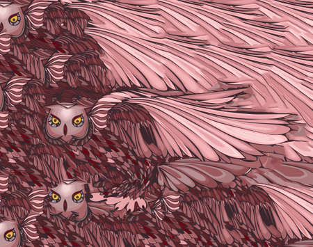 owl illustration: Graphic illustration of flying owl.