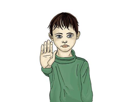 Wütend und unglücklich Junge genug Handzeichen. Gegen Gewalt. Die Gewalt zu stoppen. Portrait auf dem weißen Hintergrund. Pop-Art-Illustration.