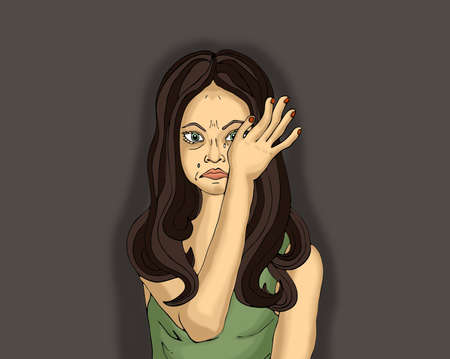 mourn: Portrait of a young woman crying and wiping tears with his hands. Girl on a white background. Pop art style Stock Photo