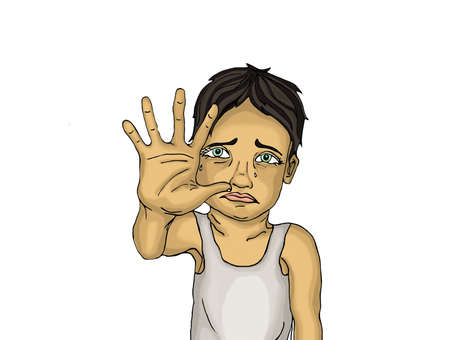 Crying boy, hand signals to stop the violence and pain. Drawn on a white background. Portrait of a frightened child.  Pop art style Standard-Bild