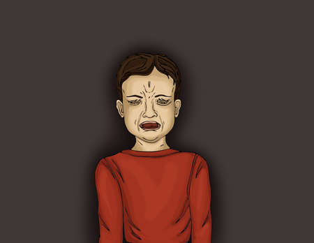 emotional pain: Unhappy little boy screaming and crying with otkrtym mouth. Portrait of a child on a white background. Isolated close-up portrait