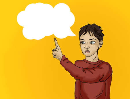 cunning: Portrait of a Cunning  little boy.Boy surprised. Child points his finger. Drawn on yellow background