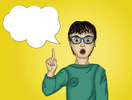 Surprised and enthusiastic child points with the index finger up. There was a new idea and concept. Portrait Boy with thought bubble on yellow  background. Pop art style