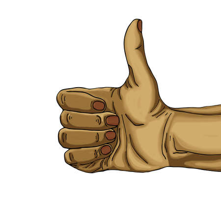 Hand shows the gesture class. Drawn on white background