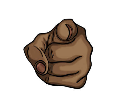 you figure: Black hand pointing a finger at you. Figure is isolated on a white background