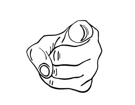 you figure: Hand pointing a finger at you. Figure is isolated on a white background