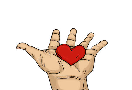 gift of hope: Red heart in the hand. Palms open. Drawn on a white background Stock Photo