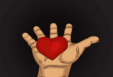 gift of hope: Red heart in the hand. Palms open. Drawn on dark background