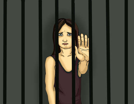 The child in prison. Children of criminals. Behind bars. Juvenile criminals. Angry and unhappy girl showing hand sign enough. Against violence. Stop the violence. Portrait on the dark background. Pop Art illustration Stock Photo