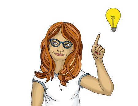 girl open mouth: Surprised and enthusiastic young woman points with the index finger up. There was a new idea and concept.  Girl on white  background. Pop art. Woman with with bulbs Stock Photo
