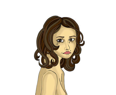 Portrait of a young woman crying and He is looking at you with sad eyes. Illustration a white background. Pop art style