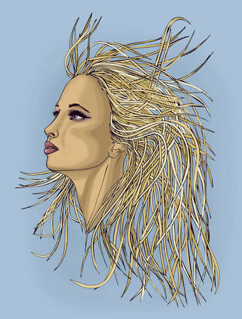 blondie: Profile of beautiful woman with waving hair.Popart style. Portrait of a girl on blue background.