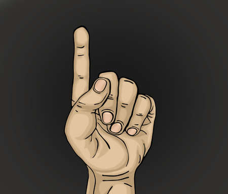 The index finger shows up. Illustration of hands isolated on black background.