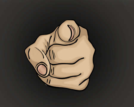 you figure: Hand pointing a finger at you. Figure is isolated on a black  background