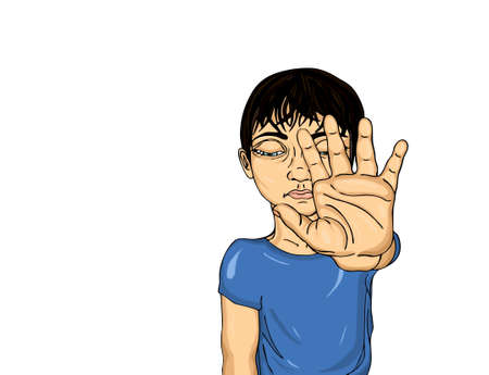Unhappy boy showing hand sign enough. Against violence. Stop the violence. Sad child closed his eyes. Portrait on the white background. Pop Art illustration