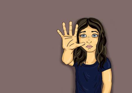 Boos en ongelukkig meisje met handteken genoeg. Tegen geweld. Stop het geweld. Pop-art stijl. Close-up op een donkere achtergrond. Stockfoto
