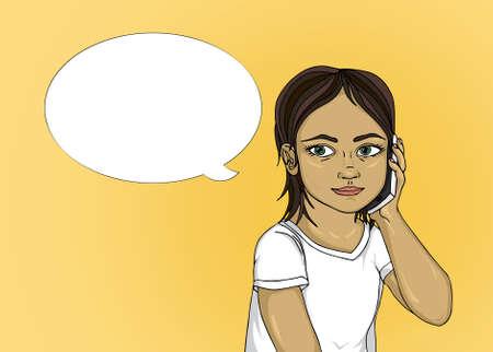 少女の耳に携帯電話を保持している間、電話で話しています。セルに彼らの言うことに注意深く耳を傾け子供の肖像画。黄色の背景のポップなアー