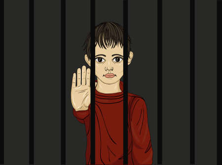 scoundrel: The child in prison. Children of criminals. Behind bars. Juvenile criminals. Angry and unhappy boy showing hand sign enough. Against violence. Stop the violence. Portrait on the dark background. Pop Art vector illustration