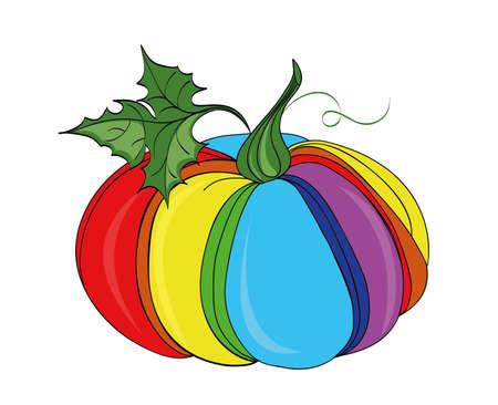 Rainbow Pumpkin . Vector illustration on white background 일러스트