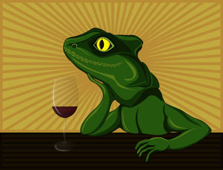 Lizard dreaming and drinking red wine. Pop Art illustration. Smiles. Standard-Bild