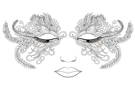 Woman face in a mask of flowers. Vector illustration. Black and white style