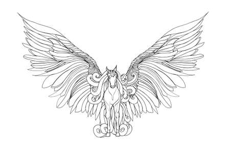 Beautiful Horse with mane and wings.Pegasus. Vector illustration . Black and white style