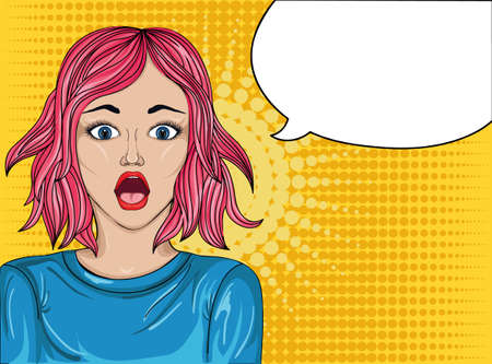 girl open mouth: Girl surprised. Pop art style. Wow. Beautiful sexy woman on a bright background. Shes in shock.