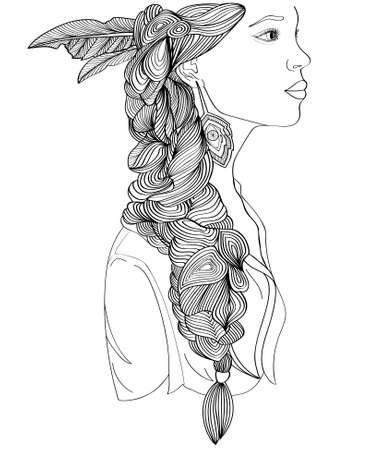 Beautiful Indian woman profile with creative braid and fashion earrings.Portrait. Black and white style Illustration