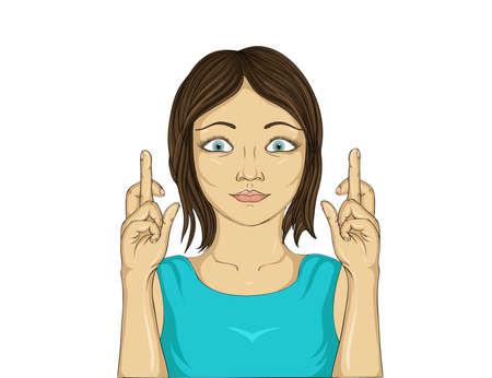 Jonge vrouw die haar vingers. Gelukkig meisje maakt een wens. Ze droomt van een beter. Close-up op een witte achtergrond. Pop-art stijl