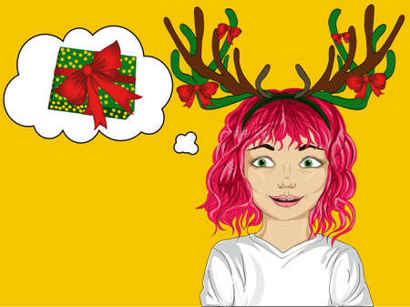 Happy little girl with Christmas deer horns on his head. Happy girl makes a wish. She dreams of a better. Portrait child in a pop art style.Thought Bubbles Stock Photo