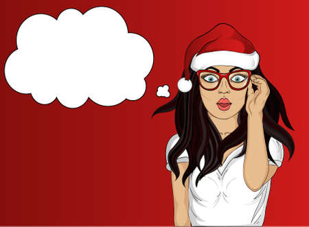 girl mouth open: Wow. Girl in Santa Claus hat very surprised. Young woman with her mouth open in shock.  Pop art style on red background. Thought Bubbles
