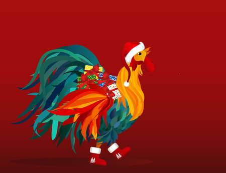 Rooster in costume of Santa Claus brings gifts on Christmas. Vector. Colorful rainbow. Symbol 2017. Blank space for advertising. Isolated Cockerel on a red background