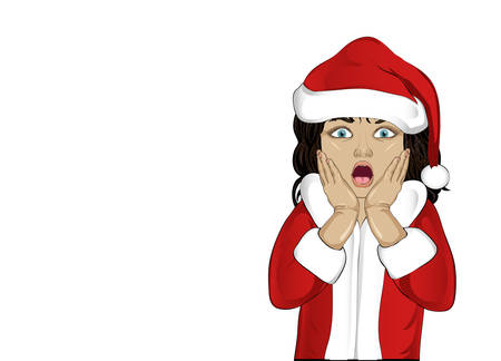 Wow. Girl in Santa Claus costume very surprised. Cild with her mouth open in shock. Pop art style on white background