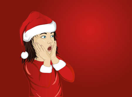 girl mouth open: Wow. Girl in Santa Claus costume very surprised. Child with her mouth open in shock.  Pop art style on red background