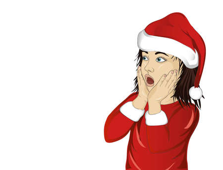 Wow. Girl in Santa Claus costume very surprised. Child with her mouth open in shock.  Pop art style on white background