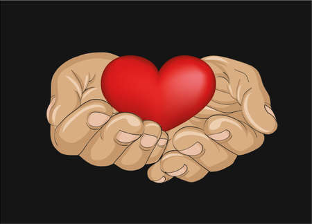 Red heart in the hands. Palms open. Hand gives or receives. Vector illustration on black background.