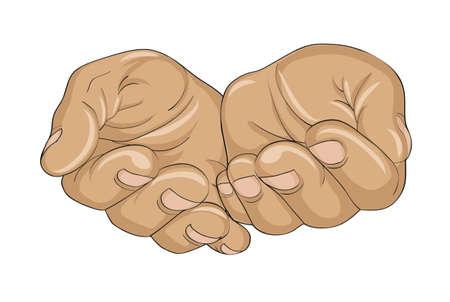 Gebaar open handpalmen. Handen geeft of ontvangt. Vector illustratie op een witte achtergrond. Lege ruimte voor reclame Stock Illustratie