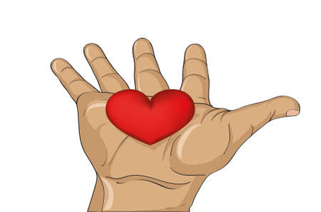 Red heart in the hand.  Gesture open palm.  Vector illustration on white background.