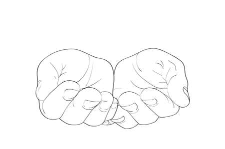 Gesture open palms. Hands gives or receives. Vector illustration on white background. Empty space for advertising