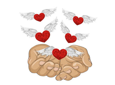 Gesture open palms. From stacked hands fly red heart with wings. Vector illustration. Valentines Day. love concept