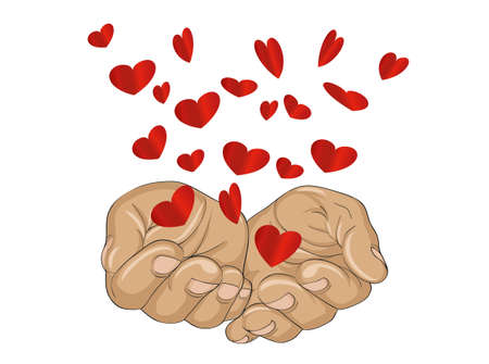 alms: Gesture open palms. From stacked hands fly red heart. Vector illustration. Valentines Day. love concept