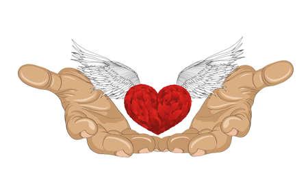 Gesture offene Handfläche. Hand gibt Herz mit Flügeln. Valentinstag. Das Konzept der Liebe. Vektor-Illustration auf weißem Hintergrund
