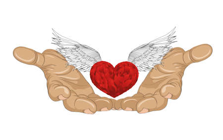 Gesture open palm. Hand gives heart with wings. St. Valentine's Day. The concept of love. Vector illustration on white background Иллюстрация