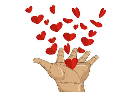 limosna: Gesture open palms. From stacked hands fly red heart. Vector illustration. Valentines Day. love concept