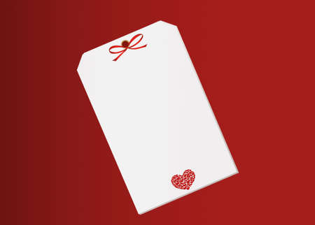 Gift card tied with a red heart. Vector. Valentines Day. Isolated on red background